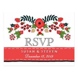 Christmas Floral Red & Green RSVP Meal Selections Postcard