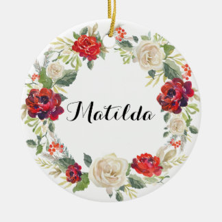 Christmas Floral Wreath Holiday Ornament / Roses