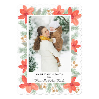 Christmas Florals - Photo Card