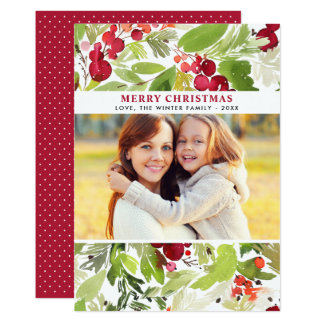 Christmas Florals   Watercolor Photo Card