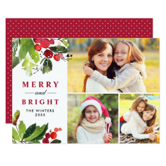 Christmas Florals   Watercolor Photo Collage Card