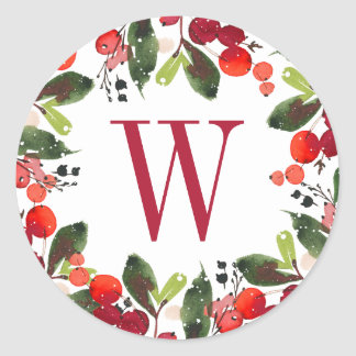 Christmas Florals Wreath | Watercolor Monogram Classic Round Sticker