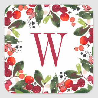 Christmas Florals Wreath | Watercolor Monogram Square Sticker
