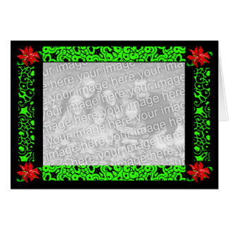 """""""Christmas Flower In Green"""" Card -Customizable"""