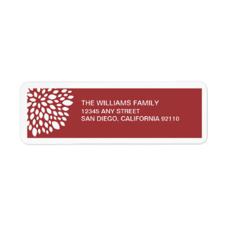 Christmas Flower Return Address Label - red