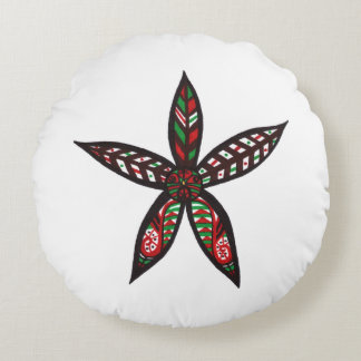Christmas Flower Round Pillow