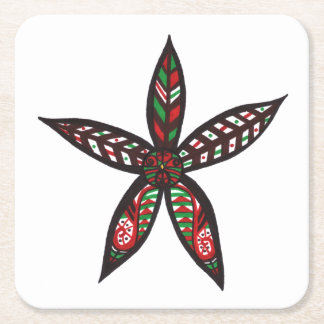 Christmas Flower Square Paper Coaster