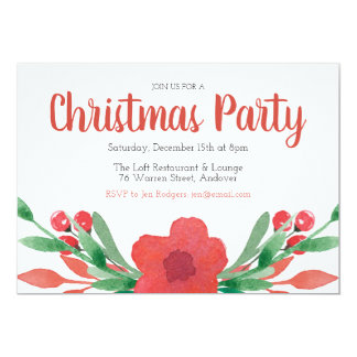 Christmas Flowers Holiday Party Invitation