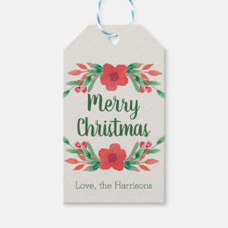 Christmas Flowers Personalized Gift Tags