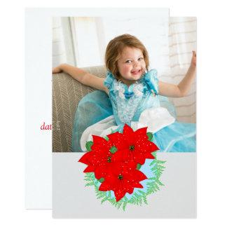 Christmas Flowers Red Poinsettia Editable Photo Card