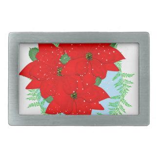 Christmas Flowers Red Poinsettia Festive Wreath Belt Buckles