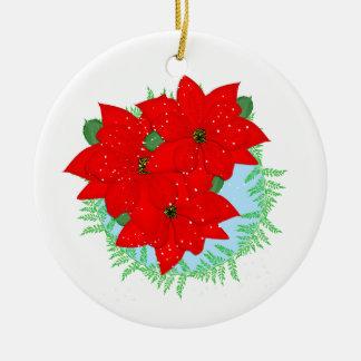 Christmas Flowers Red Poinsettia Festive Wreath Ceramic Ornament