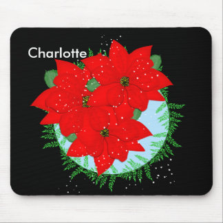 Christmas Flowers Red Poinsettia Festive Wreath Mouse Pad