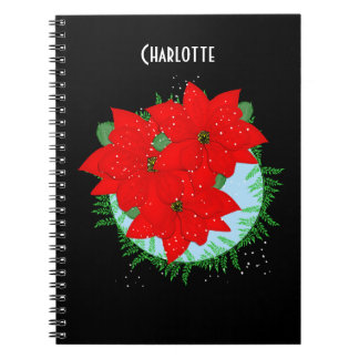 Christmas Flowers Red Poinsettia Festive Wreath Notebooks