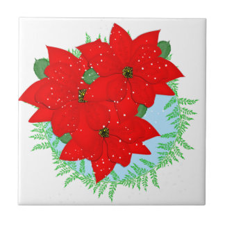 Christmas Flowers Red Poinsettia Festive Wreath Tile