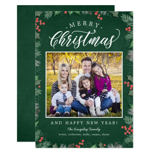 Christmas Foliage EDITABLE BACKGROUND Holiday Card