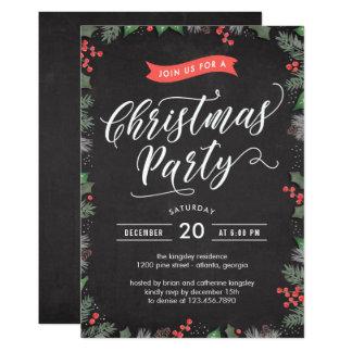 Christmas Foliage EDITABLE COLOR Party Invitation