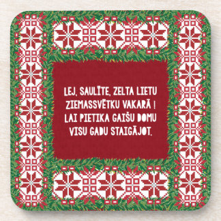 Christmas Folk Song III Latviesu Tautasdziesma Drink Coaster