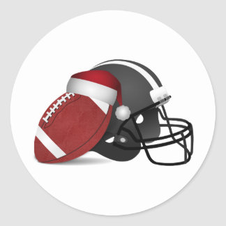 Christmas Football And Helmet Classic Round Sticker