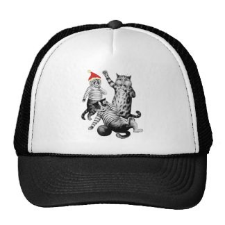 Christmas Football Playing Cats Trucker Hat