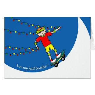 Christmas for Half Brother, Skateboarder & Lights Card