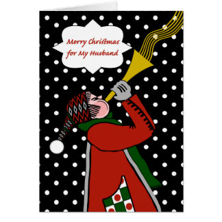 Christmas for Husband, Trumpet in Snow Storm Card