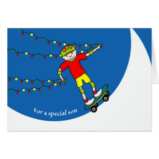 Christmas for Son, Skateboarding and Lights Card