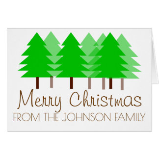 Christmas forest personalized greeting card