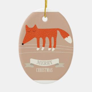 christmas fox ceramic ornament