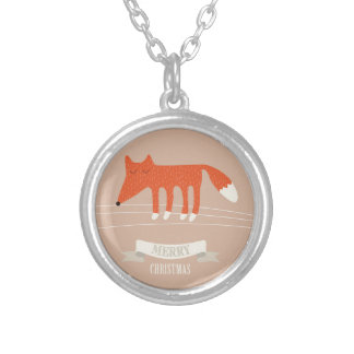 christmas fox silver plated necklace