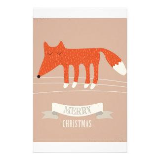 christmas fox stationery