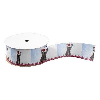 "Christmas French Bulldog 1.5"" grosgrain ribbon"
