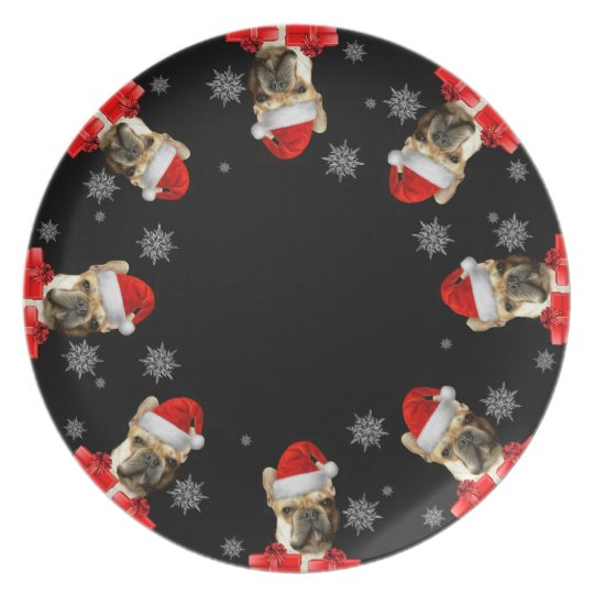Christmas French Bulldog dinner plate