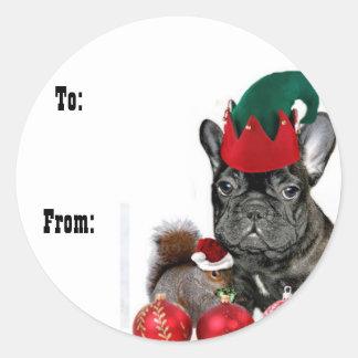 Christmas French Bulldog gift tag stickers