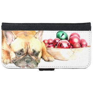 Christmas French bulldog iPhone 6 wallet case