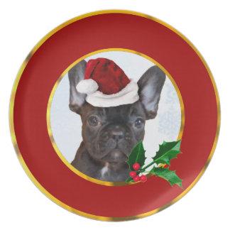 Christmas French Bulldog Plate