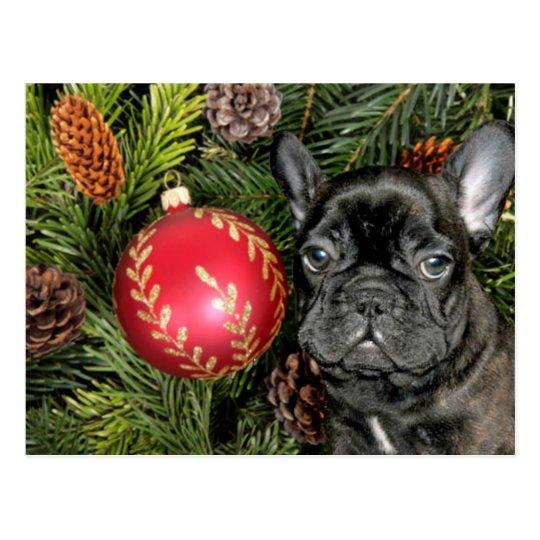 Christmas French Bulldog Postcard