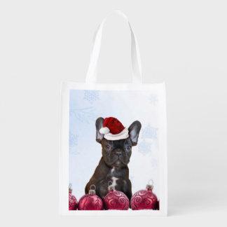 Christmas French Bulldog Reusable Grocery Bag