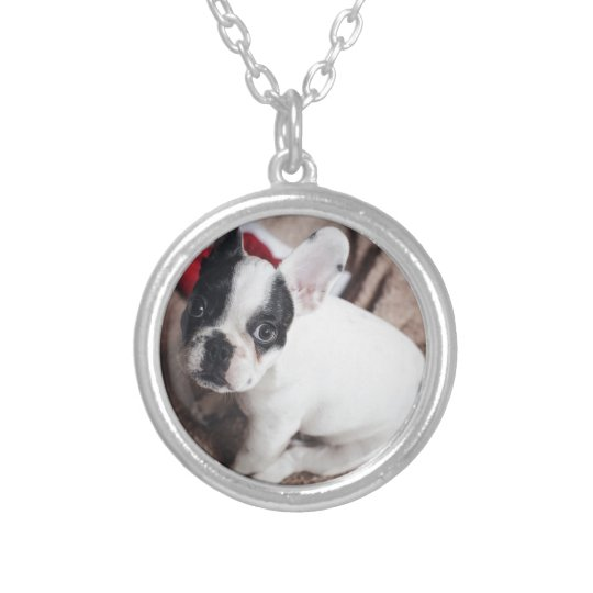 Christmas Frenchie Silver Plated Necklace