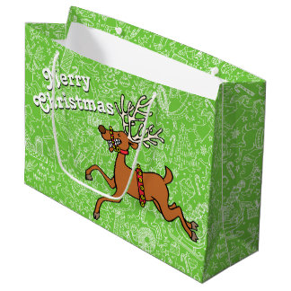 """Christmas Frenzy"" with Reindeer — Large Gift Bag"