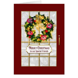 Christmas- Friends - Red Door/Wreath Card