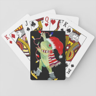 Christmas frog playing cards