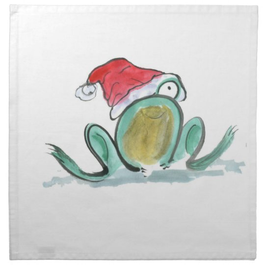 Christmas Frog, Sumi-e Cloth Napkin