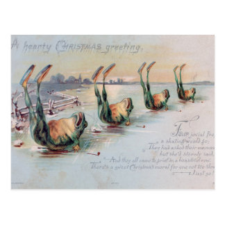 Christmas Frogs on Ice Vintage Postcard