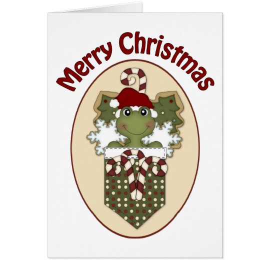 Christmas Frogs with Cookies and Candy Canes Card