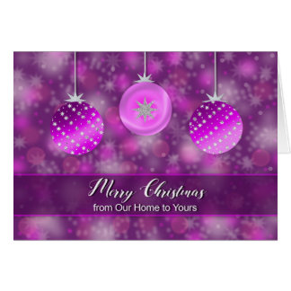 Christmas - From Our Home to Yours - Purple Decor Card