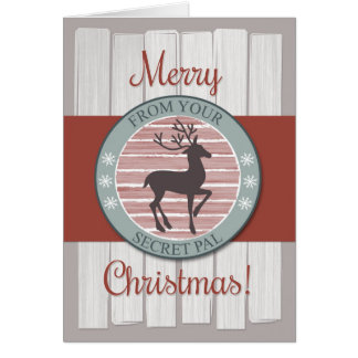 Christmas from Secret Pal with Rustic Reindeer Greeting Card