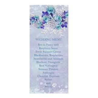 Christmas Frosty Blue Roses Wedding Menu Invite