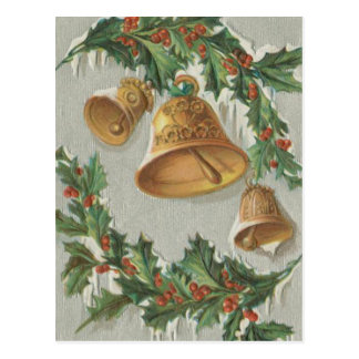 Christmas Frozen Bells and Holly Post Cards