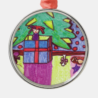Christmas fun, gifts under the tree Silver-Colored round ornament